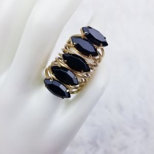 3 FOR 15 Marquise Gem Black Stacked Ring